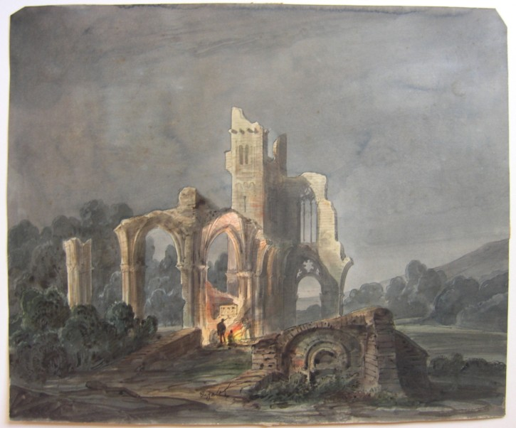 Landscape at night with monestry in ruins