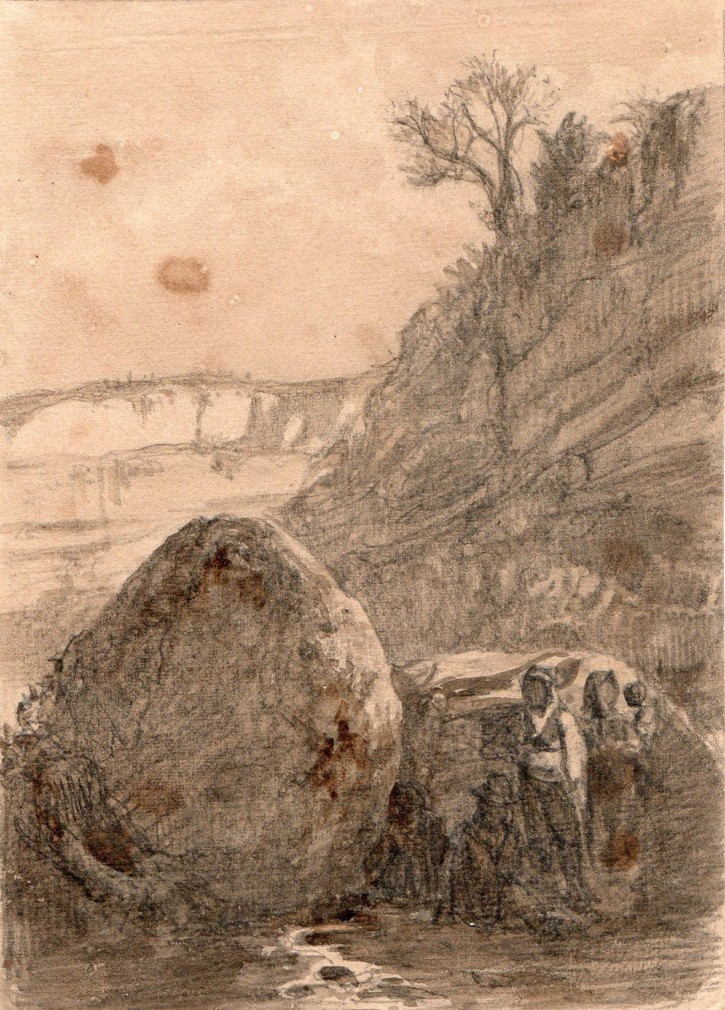 Landscape with characters and stones