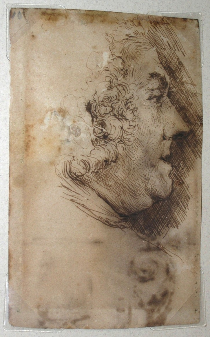 Portrait of a figure by profile