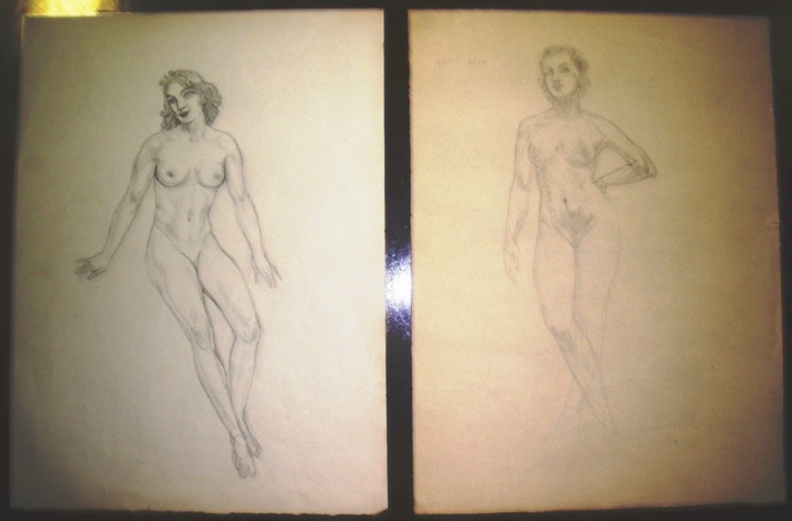 Pair of women drawings
