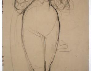 Estudio de desnudo estirado (verso) y desnudo de pie (reverso)