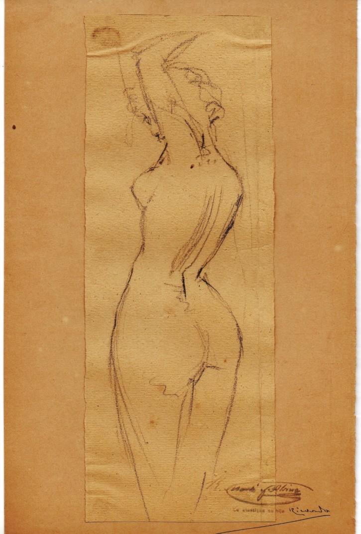Esbozo erótico. Modelo de espaldas