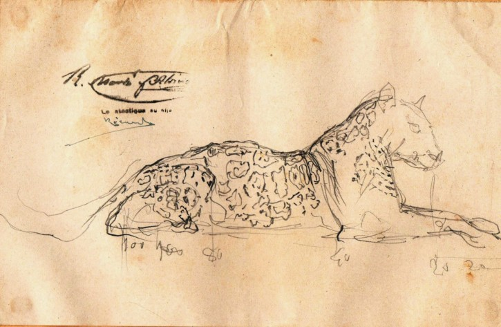 Sketch of a laying leopard