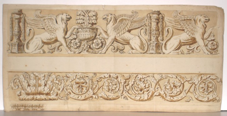 Ornamental motifs with sphinxes