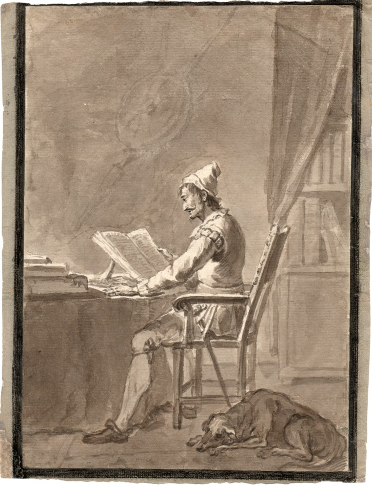 Don Quijote reading in his studio