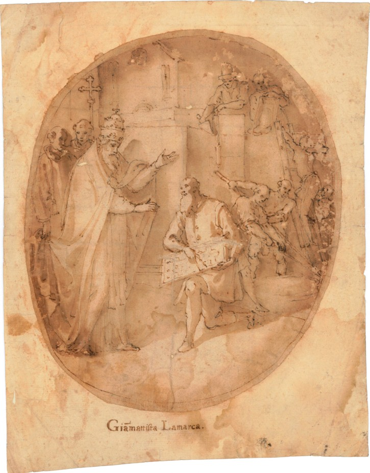 Presentation of the plant of a Church to an Pope
