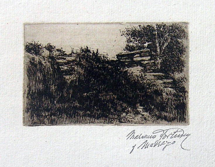Bench landscape with a tree on the right