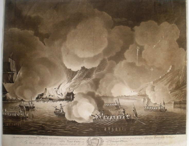The Destruction of the Floating Batteries before Gibraltar, September the 14th 1782 taken from the most authentic accounts…
