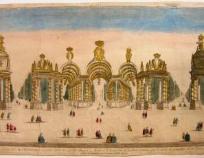 Décoration perspective de l'Illumination executé dins le Jardin Royal à Madrid à l'occasion de la Paix conclue par le traité de Versailles du 10 Fevrier 1763.