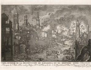 Vista interior de la destrucción de Zaragoza en el segundo sitio