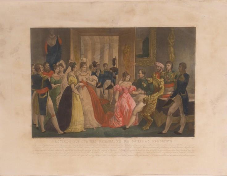 Napoleón hace sentar en sus rodillas a Stephanie de Baden, familiar suya