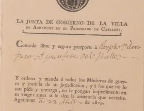 Salvoconducto de Agramunt a nombre Joseph Vilaró para Sant Cugat del Vallès
