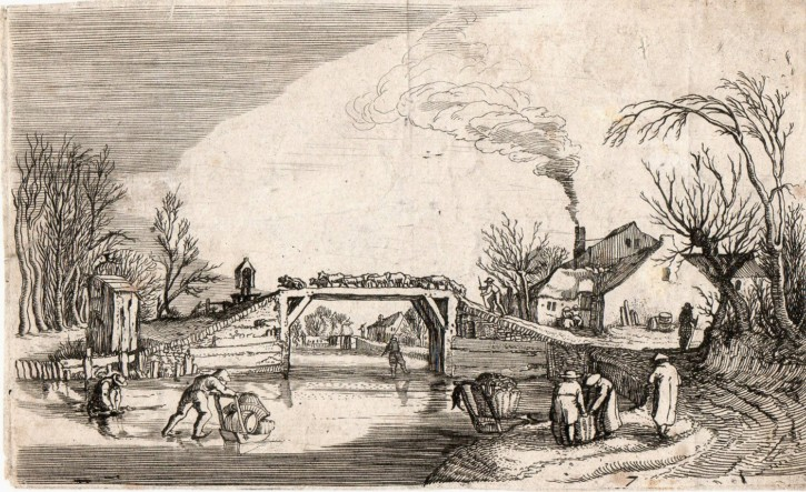 Winter landscape with figures
