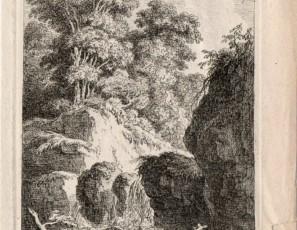 Cascada de agua con dos figuras