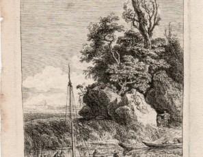 Paisaje con barca y figuras