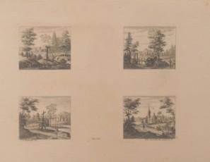 Cuatro vistas de monumentos y paisajes