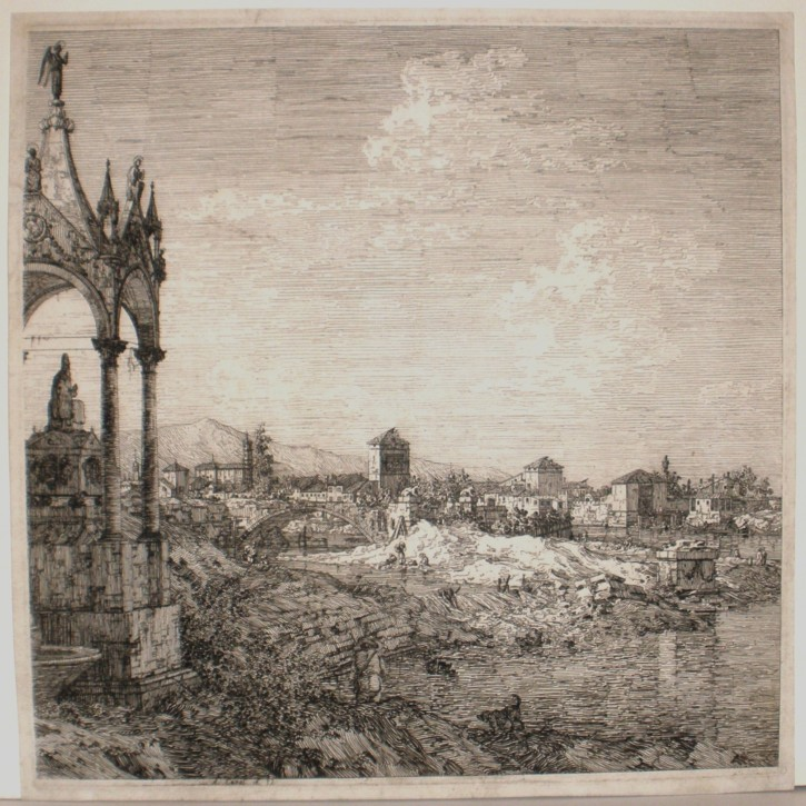 View of a city with a bishop's sepulchre