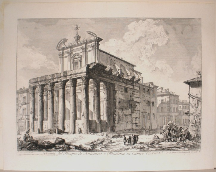 Vista del templo de Antonio y Faustina