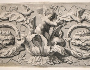 Ornamento vegetal con putto