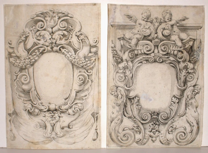 Pair of grotesque motifs
