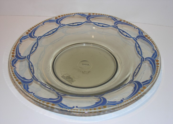Decorative enameled glazed plate