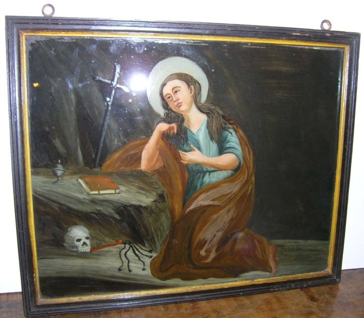 Painted glass with Saint Magdelene