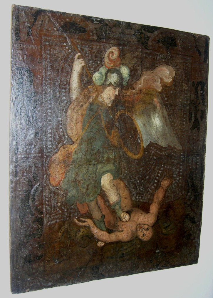 Saint Michael Arcangel on leather