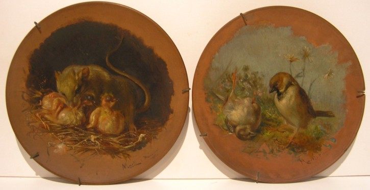 Pair of ceramic plates with animals