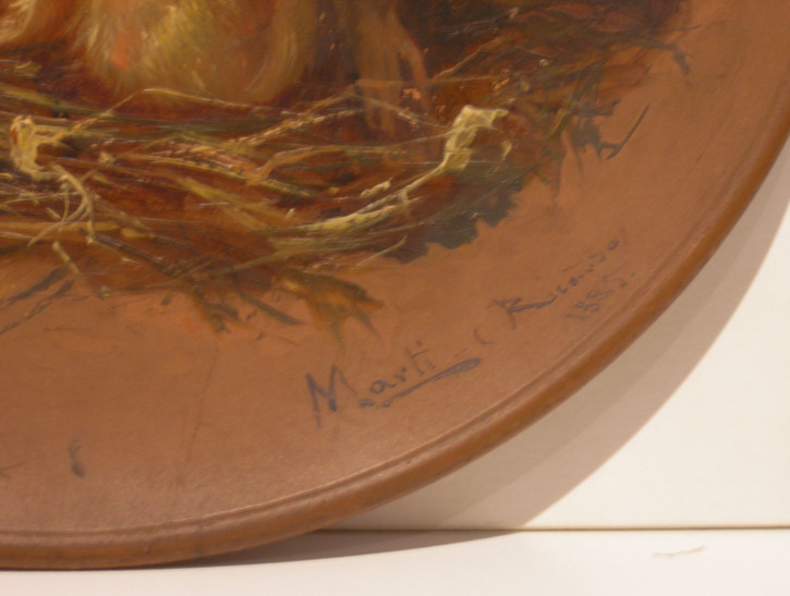 Pair of ceramic plates with animals (Martí i Aguiló, Ricard) - 1885 - [Animals, Catalonia, XIX, Oil, Ceramic, Without frame]