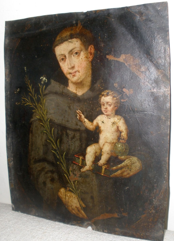 Saint Anthon of Padua (Anónimo) -  - [Religion, Spain, XVII, Oil, Copper, Without frame]