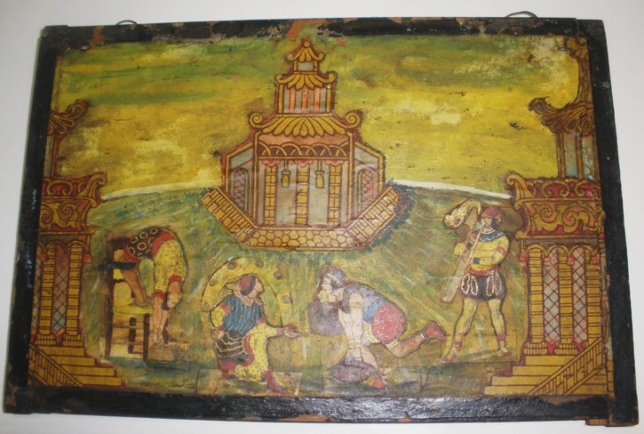 Circus scene on arte povera table wood