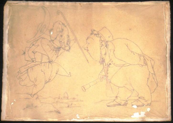 Caricatura de Lorenzale con Pau Milà Fontanals en Florencia