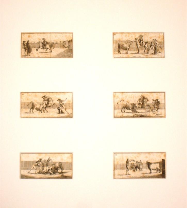 Lot of 12 bullfighting scenes