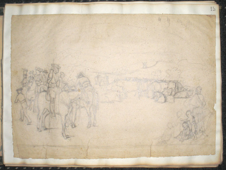Lot of 4 drawings with bullfighting scenes