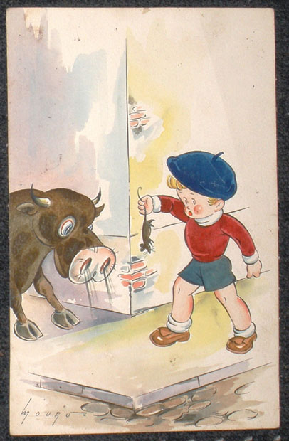 Bull with child and a rat