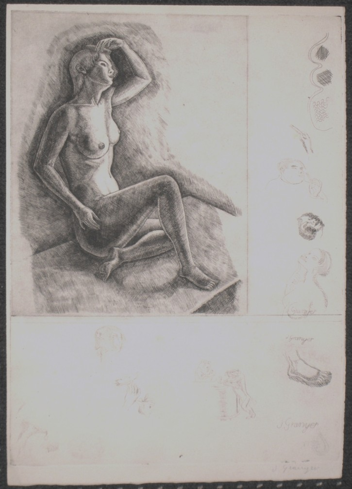 Naked woman combing