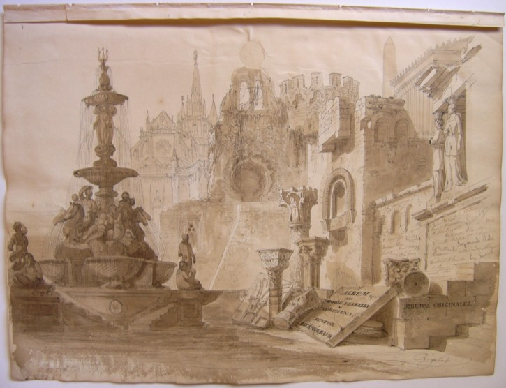 Album cover drawings by Josep Planella (Rigalt i Farriols, Lluís) - Circa 1855 - [Ruins and antiques, Catalonia, XIX, Plume and sipia gouache, Laid paper]
