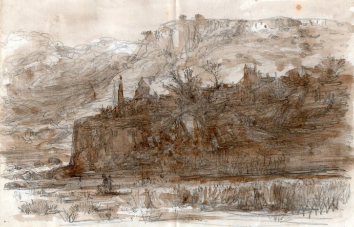 Landscape with village (Rigalt i Farriols, Lluís) - Circa 1875 - [Views and landscapes, Catalonia, XIX, Pencil and brown gouache, Laid paper]
