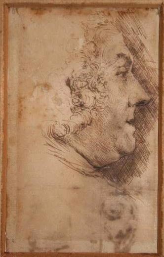 Dibujo de rostro de personaje de perfil (Fortuny Marsal, Marià) -  - [Estudios, apuntes y esbozos, Cataluña, XIX, Pluma, Papel verjurado]