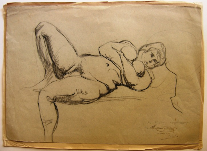 Sketch of a laying woman (Martí Alsina, Ramón) - Circa 1865-1870 - [Studies, sketches, Catalonia, XIX, Charcoal, Laid paper]