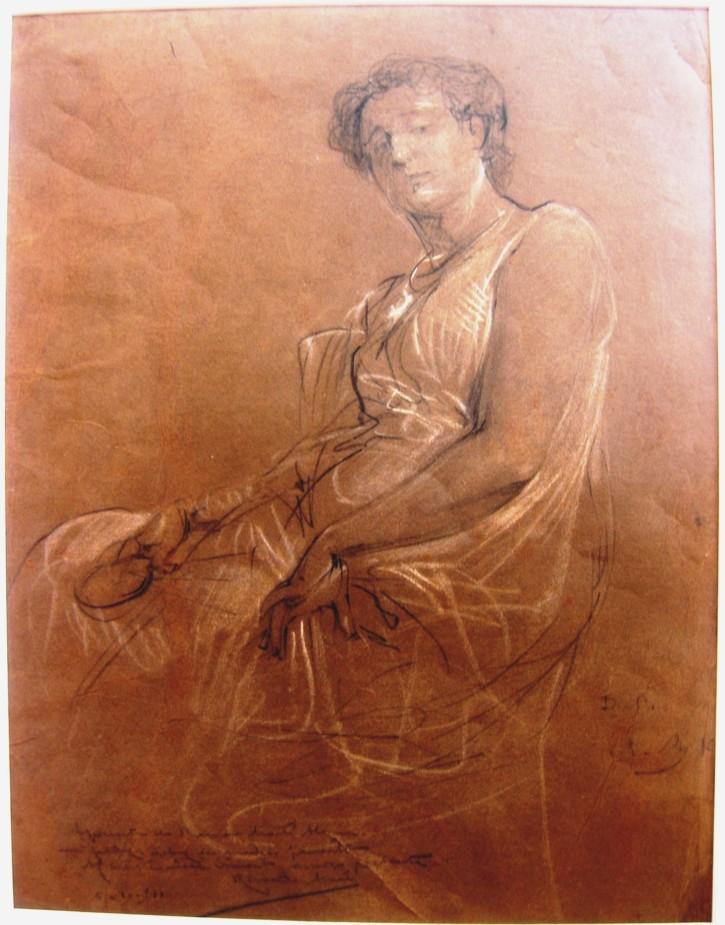 Dibujo de la modelo Dolores Oliva sentada. Martí Alsina, Ramón. Circa 1878-1882
