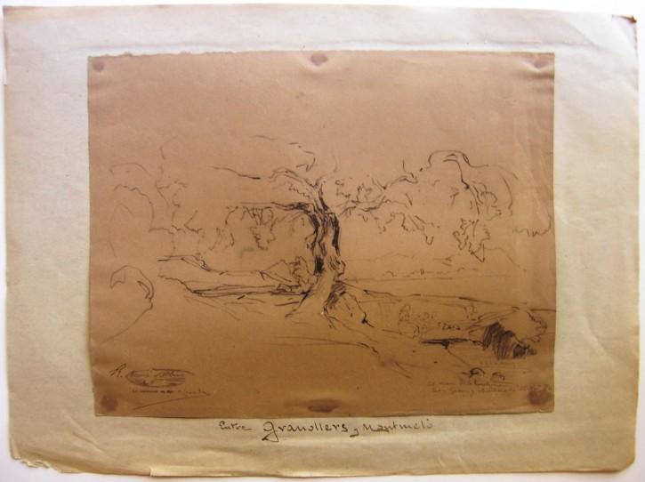Between Granollers and Mataró (Martí Alsina, Ramón) - 16th November 1870 - [Views and landscapes, Catalonia, XIX, Pencil and charcoal, Laid paper]