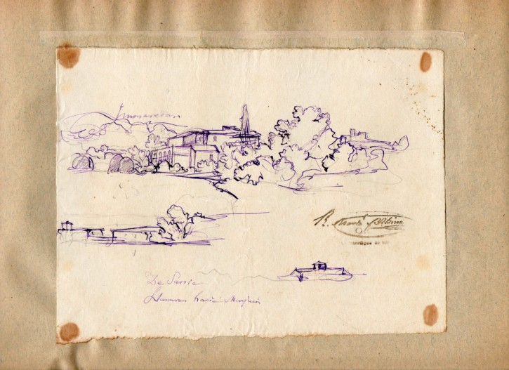 Pedralbes (Martí Alsina, Ramón) - Circa 1885-1890 - [Views and landscapes, Catalonia, XIX, Charcoal and clarion, Laid paper]