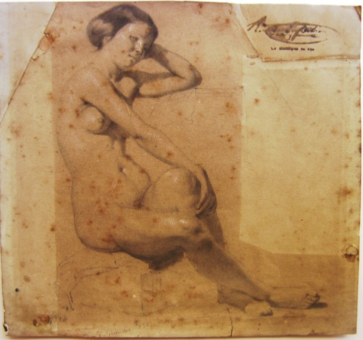 Naked woman (Martí Alsina, Ramón) - December 1856 - [Studies, sketches, Catalonia, XIX, Pencil, wtaercolor and clarion, Laid paper]