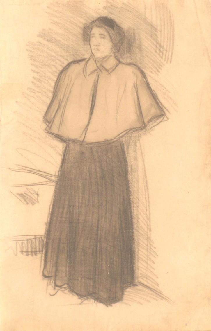 Mujer con esclavina. Torres-García, Joaquín. Circa 1902