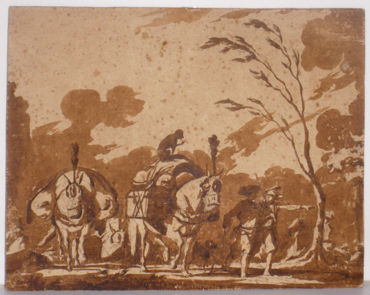 Company with horses, dogs and a monkey