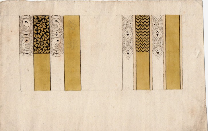 "Drawing for ""indiana"" (Anónimo) - Second half 18th century / begining 19th century - [Others, Catalonia, XVIII, Pencil, ink and watercolor, Laid paper]"