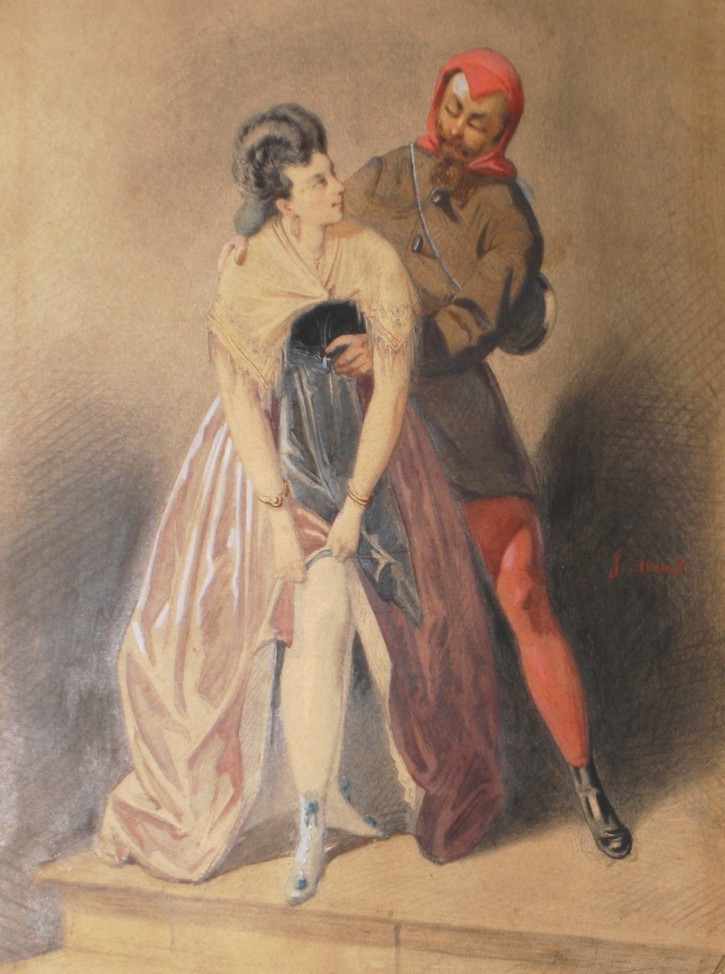 Couple costumed (Armet, Josep) -  - [Play time and Fiesta, Catalonia, XIX, Pencil, ink and watercolor, Wove paper]