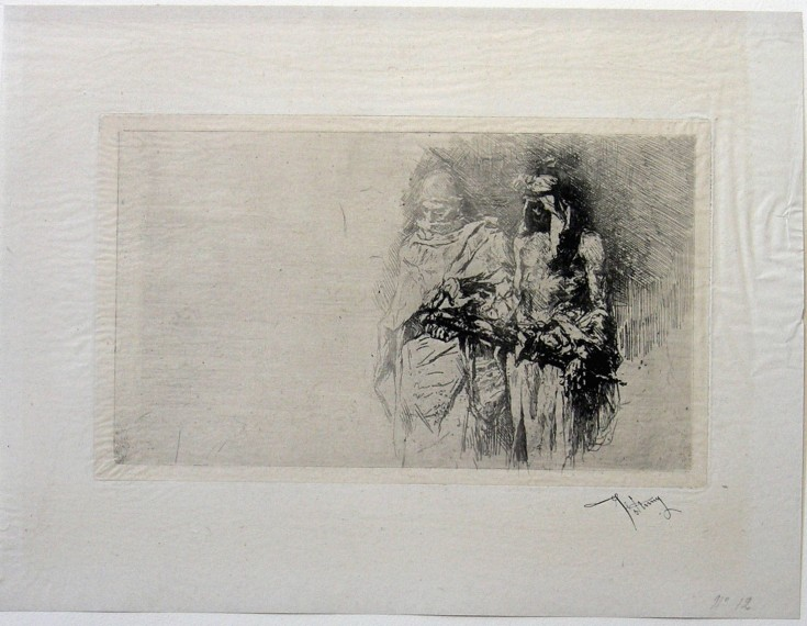 "Sketch (Fortuny Marsal, Marià - Goupil) - 2nd tirage ""avant la lettre"", 1878 - [Others, France, XIX, Etching, China paper ""appliqué""]"