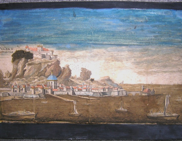 Gibraltar's square / Battles on the water (Anónimo) - Middle 18th century - [Views and landscapes, Not known, XVIII, Etching and coloured burin, Laid paper on cardboard]